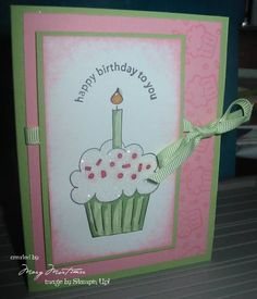 crazy for cupcakes stampin up - Bday Cards, Kids Birthday Cards, Handmade Birthday Cards, Birthday Images, Cool Cards, Cupcakes, Kids Cards, Scrapbook Cards, Homemade Cards