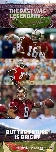 San Francisco 49ers these are the three legand that lead the 49ers to 5 superbowl championship. they are the greast players of all time that play the game of football. No body yet bet there record yet. They all set different records. Thats what make the them the 3 go to guys.