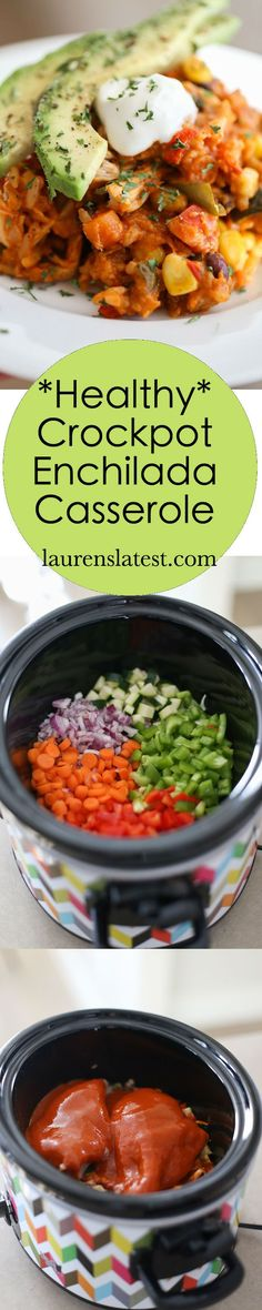 Healthy Crockpot Enchilada Casserole...a low-fat dinner packed with veggies, chicken and flavor!! It makes for an amazing healthy chicken dinner.
