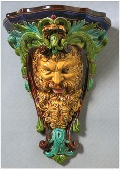 Sarreguemines, France, Majolica Satyr form Wall Bracket Satyr, Wall Brackets, Mythology, Lion Sculpture, Objects, Porcelain, Victorian, Pottery, Ceramics