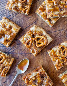 Salted Caramel Pretzel Blondies - Soft, buttery blondies with gooey caramel and crunchy pretzles baked in. An easy, one-bowl, salty-and-sweet treat. Recipe at averiecooks.com