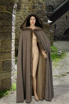 Fur Trimmed Suede Cloak No. 15 with Hood - 89.00USD - Medieval and Renaissance Clothing, Handmade by Your Dressmaker