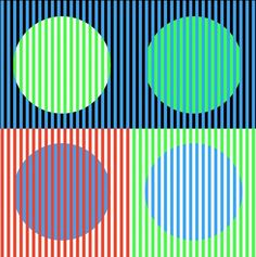 The green, red, and blue are the same throughout but   they look different with various colors around them.