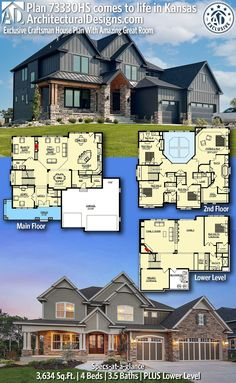House Plan 73330HS gives you 3600 square feet of living space with 4 bedrooms and 3.5 baths. AD House Plan #73330HS #adhouseplans #architecturaldesigns #houseplans #homeplans #floorplans #homeplan #floorplan #houseplan Sims House Plans, Ranch House Plans, Craftsman House Plans, New House Plans, Dream House Plans, House Floor Plans, 4000 Sq Ft House Plans, Floor Plans 2 Story, Two Story House Plans