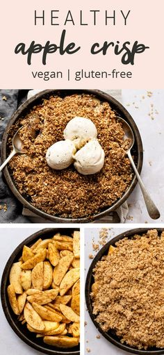 This healthy apple crisp is lightly sweetened with maple syrup and features a crunchy oatmeal topping. This recipe is sure to be a fall family favorite! Healthy Thanksgiving Recipes, Good Healthy Recipes, Paleo Recipes, Gluten Free Apple Crisp, Vegan Gluten Free, Apple Crisp With Oatmeal, Oatmeal Toppings, Holiday Desserts, Favorite Recipes