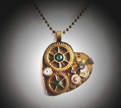 Steampunk Antique Bronze Clock Part Heart Pendant Necklace by OneStopSteamShoppe, $35.00
