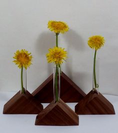 Bud Vase Walnut Wood Test Tube Vase Gift Table by llacarve on Etsy, $8.00