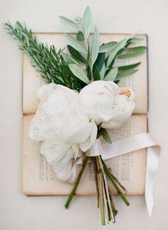 1920's/Italian Olive Branch, Green Amaranthus, White & Red Wine Anemones & White Rose Wedding Flowers.