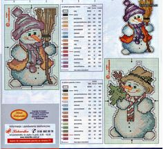 snowman cross stich pattern2