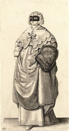 Wenceslas Hollar - Lady with mask and muff