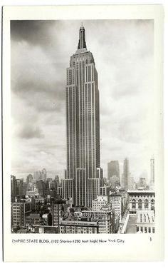 Empire State Building Real Photo Postcard c1950s, Vintage New York City RPPC Ephemera, FREE SHIPPING $7.25