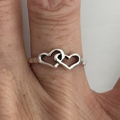 Sterling Silver Two Heart Ring, Love Ring, Pinky Ring, Midi Ring, Index Ring, Thumb Ring by IndigoandJade on Etsy
