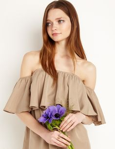 Khaki off The Shoulder Dress #fashion #pixiemarket