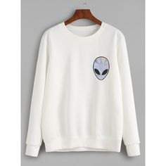 White Alien Print Sweatshirt ($14) ❤ liked on Polyvore featuring tops, hoodies, sweatshirts, white, sweater pullover, print pullover, print top, long sleeve tops and patterned tops