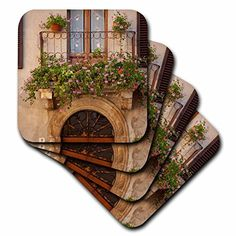 3dRose cst_208758_3 Flowers on Home in Piezna Tuscany Italy Ceramic Tile Coasters Set of 4 >>> Be sure to check out this awesome product. (This is an affiliate link)