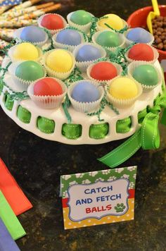 These cake ball fetch balls are a perfect addition to a dessert table and are too cute! Great for a Paw Patrol party!! See more party ideas and share yours at CatchMyParty.com