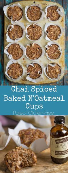 Chai Spiced Baked N'Oatmeal Cups are the perfect grain-free Paleo Breakfast!! So much flavor and a perfect texture. #paleo #glutenfree #ad #nielsonmasseypartner