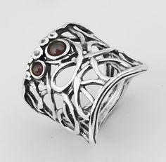 Garnet Ring, Sterling Silver, Faceted Garnet Stone By Shablool Design Didae Israel