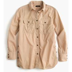 J.Crew Petite garment-dyed fatigue shirt
