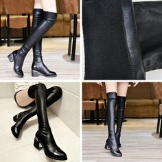 Knee High - Black Genuine Leather over the knee Winter Boots - $69.99 (65.99 euros) @shoesofexception #fashion #sexy #overtheknee