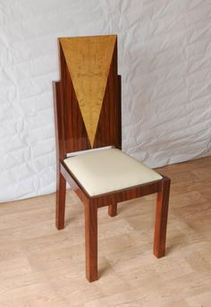 Photo of 8 Art Deco Dining Chairs Inlay Diners Furniture 1920s Vintage