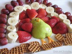 Turkey with fruit feathers and chocolate fondue.