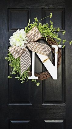 Best Selling Wreath, Spring Wreath, White Monogram Wreath, Hydrangea Wreath, Chevron Burlap Wreath, Year Round Wreath by AnnabelleEveDesigns on Etsy https://www.etsy.com/listing/174815881/best-selling-wreath-spring-wreath-white