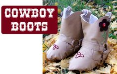 Baby Cowboy Boots Pattern & Tutorial  ***Update!!***  After many many requests the Baby Cowboy boots have gone through a big revamp and are now available over at Peek-a-Boo Pattern Shop. They are now fully lined, the tutorial has been greatly improved, and they come in 4 sizes!  Get your pattern here