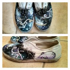 Galaxy, anchor, and octopus painted on Vans