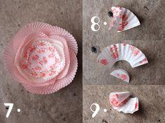 giochi di carta: giochi di carta #27 baking cups flower diy Tin Flowers, Crepe Paper Flowers, Cupcake Liner Flowers, Cupcake Liners, Valentine Crafts, Christmas Crafts, Flower Crafts, Flower Diy, How To Make Decorations