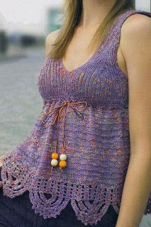 Free Knitting Patterns: Purple Top (knit and crochet)