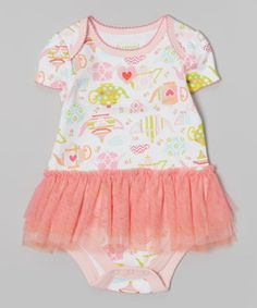Another great find on #zulily! Happi by Dena White Teapot Skirted Bodysuit - Infant by Happi by Dena #zulilyfinds