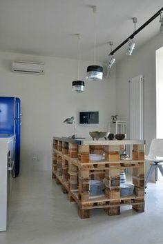 cuisine îlot diy palette bois luminaire suspension idées brico déco