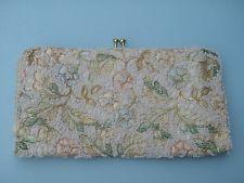 1950's Vintage Jolles Original Embroidered Flowered Pastel Beaded Evening Purse
