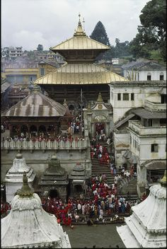 The Pashupatinath Temple near Kathmandu, Nepal. These are the crematories of Kathmandu next to Bhagmati river.