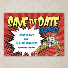 Comic Book Style Save the Date by yanstudio on Etsy Superman Wedding, Marvel Wedding, Lego Wedding, Wedding Superhero, Avengers Wedding, Comic Book Style, Comic Books, Wedding Stationary, Wedding Invitations