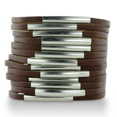 MULTI SPLIT LEATHER W/METAL BRN Brown Shredded Leather and Silver Tone Accented Cuff Bracelet