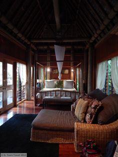 Loloma, one of Namale's oceanside honeymoon bures. Fiji Honeymoon, Thatched Roof, Wood Interiors, Honeymoons, South Pacific, Luxury Villa, Backyards, Trip Planning, Destinations