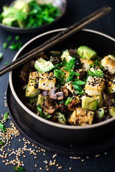 Roasted Cauliflower Rice Bowl with Miso and Veggies -Vegan