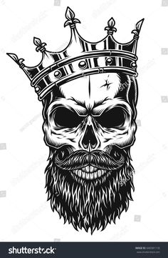 Illustration of black and white skull in crown with beard isolated on white background Bart Tattoo, Skull With Crown, Tatuajes New School, Skull Tattoos, King Tattoos, Black Tattoos, New Tattoos, Sleeve Tattoos, Tattoos For Guys