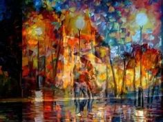 Leonid Afremov, oil on canvas, palette knife, buy original paintings, art, famous artist, biography, official page, online gallery, large artwork, fine, water, canal, leaf fall, autumn, garden, night park, cityscape, rain, river, walking people, outdoors