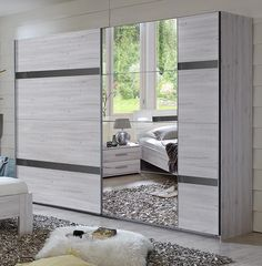 German Nizza Driftwood White Oak Grey Gloss 225cm Sliding Mirror Door Wardrobe