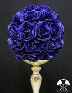 ROYAL BLUE Rose Ball made of PREMIUM Real Touch Roses. Royal Blue Flower Ball. Royal Blue Pomander. Royal Blue Centerpiece. Royal Blue Wedding. Quinceanera. Pick Rose Color! 10 Size Pictured.  GOLD STAND Sold Separately Blush And Grey Wedding, Burgundy Wedding, Blue Wedding, Peacock Wedding, Rainbow Wedding, Nautical Wedding, Flower Ball Centerpiece, Crown Centerpiece, Mickey Centerpiece