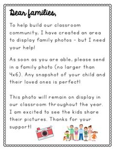 Classroom Family Photo Display Letter by Primarily Yours - Maddie Ward Preschool Rooms, Preschool Learning, Kindergarten Classroom, Classroom Activities, Teaching, Preschool Parent Board, Preschool Family Theme, Autism Activities, Sorting Activities