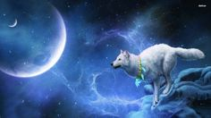 1920 x 1080px wolf and moon themed by Freeborn Little