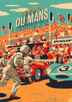 24 Heures Du Mans. Illustration to celebrate 90 years of the famous LeMans 24hr car race.