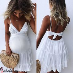 Fashion Strap Backless Women Summer Dress Pleated Bright yellow V Neck female Streetwear casual white lace dress Beach Vestidos Sexy Dresses, Boho Summer Dresses, Beach Dresses, Summer Dresses For Women, Casual Dresses, Mini Dresses, Bow Dresses, Vacation Dresses, Party Dresses