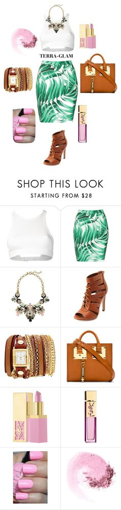 """""""Welcome To The Jungle"""" by terra-glam ❤ liked on Polyvore featuring T By Alexander Wang, Topshop, Charlotte Russe, La Mer, Sophie Hulme, PUR, Yves Saint Laurent, NARS Cosmetics, Pink and YSL"""
