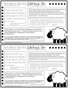 February 2015 VT Handout from Life's Journey To Perfection: The Attributes of Jesus Christ: Without Sin