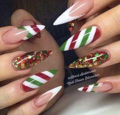 Christmas Nails – 36 Beautiful And Stylish Christmas Stiletto Nail Art Designs; Christmas Nail Art Designs, Holiday Nail Art, Xmas Nail Art, Holiday Candy, Winter Nail Designs, Cute Nail Art, Long Nail Art, Long Nails, Stiletto Nail Art